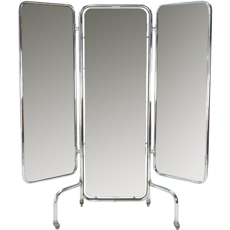Vintage triptych mirror in metal