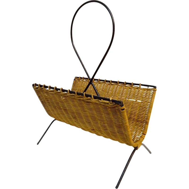 Vintage French magazine rack in steel and rattan
