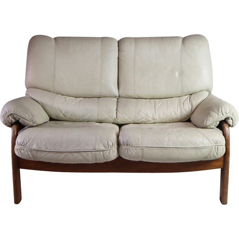 Vintage 2 seater sofa in white leather