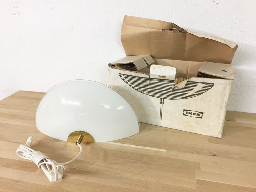 vintage ikea model solist wall lamp in glass and brass 1970