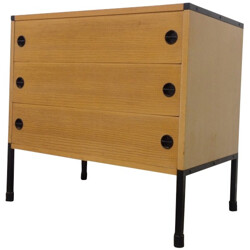 Small chest of drawers in ashwood and metal, ARP (Motte, Mortier, Guariche) - 1960s