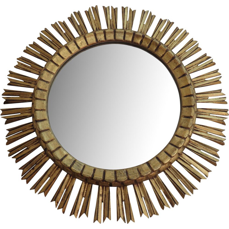 Vintage golden sun mirror in wood from France 1970