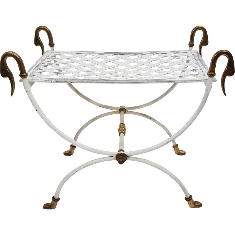 Ottoman curule neo classical metal and brass 1970