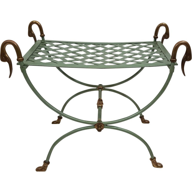 Ottoman curule neo classic metal and brass 1970