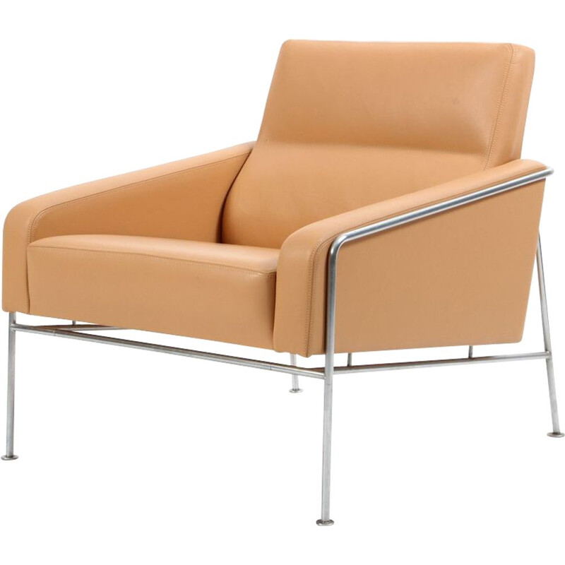 Series 3300 Natural Leather Armchair, Arne Jacobsen for Fritz Hansen