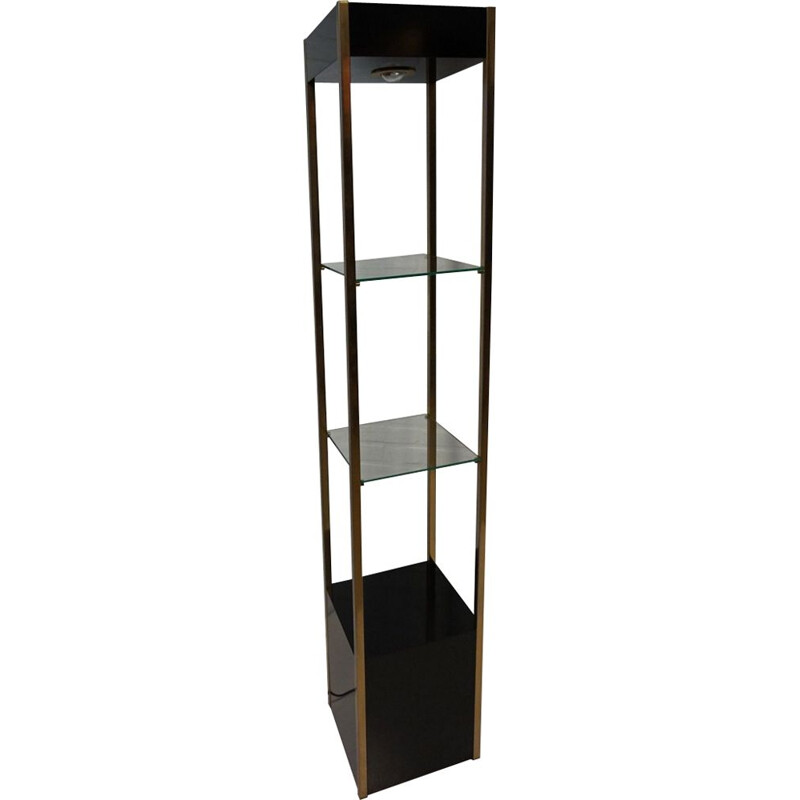 Vintage shelving unit from Belgochrom in metal and glass 1970