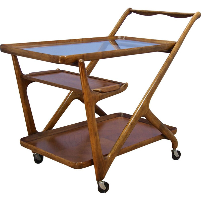 Vintage Italian bar cart  serving trolley by Cesare Lacca for Cassina