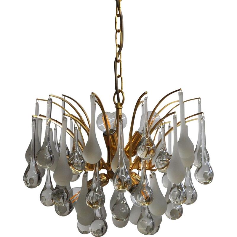 Vintage Murano glass drops chandelier by Paolo Venini for Venini