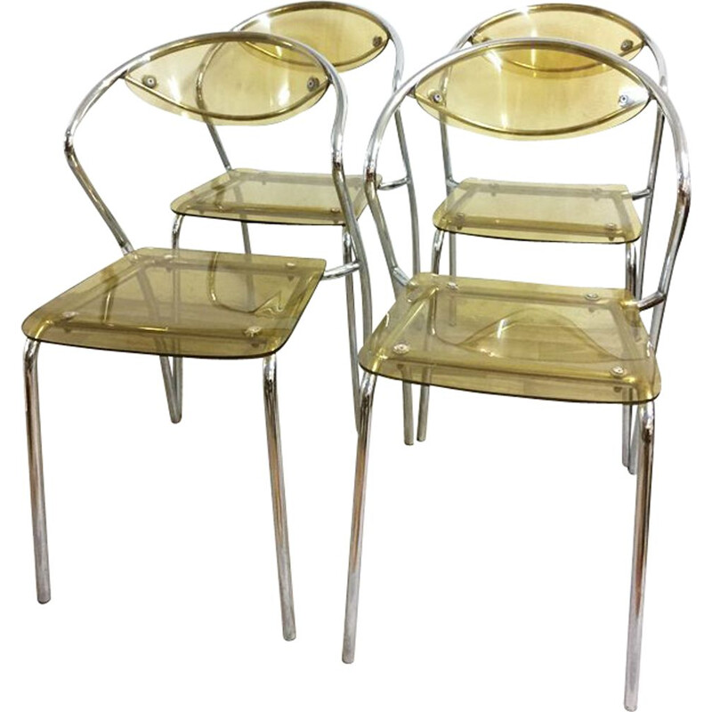 Set of 4 vintage plexiglas and chrome chairs 1980