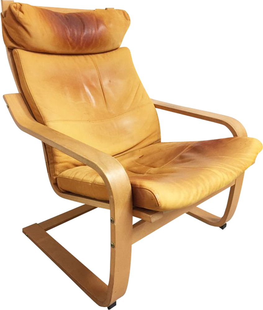 Ikea Poang Draaifauteuil.Vintage Poang Armchair For Ikea In Leather And Birchwood 1990