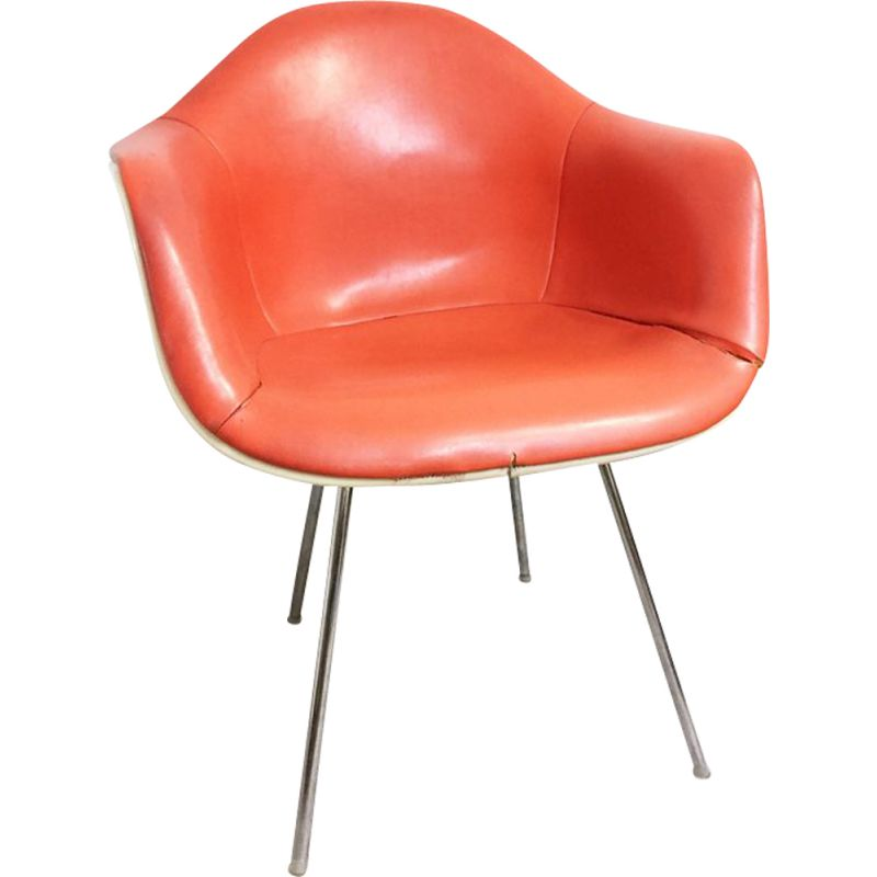 Vintage Eames DAX for Erman Miller orange leather and metal armchair
