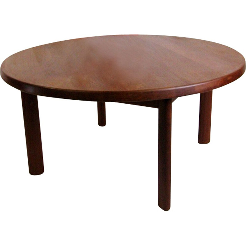 Vintage round danish coffee table in teak from Nils Bach