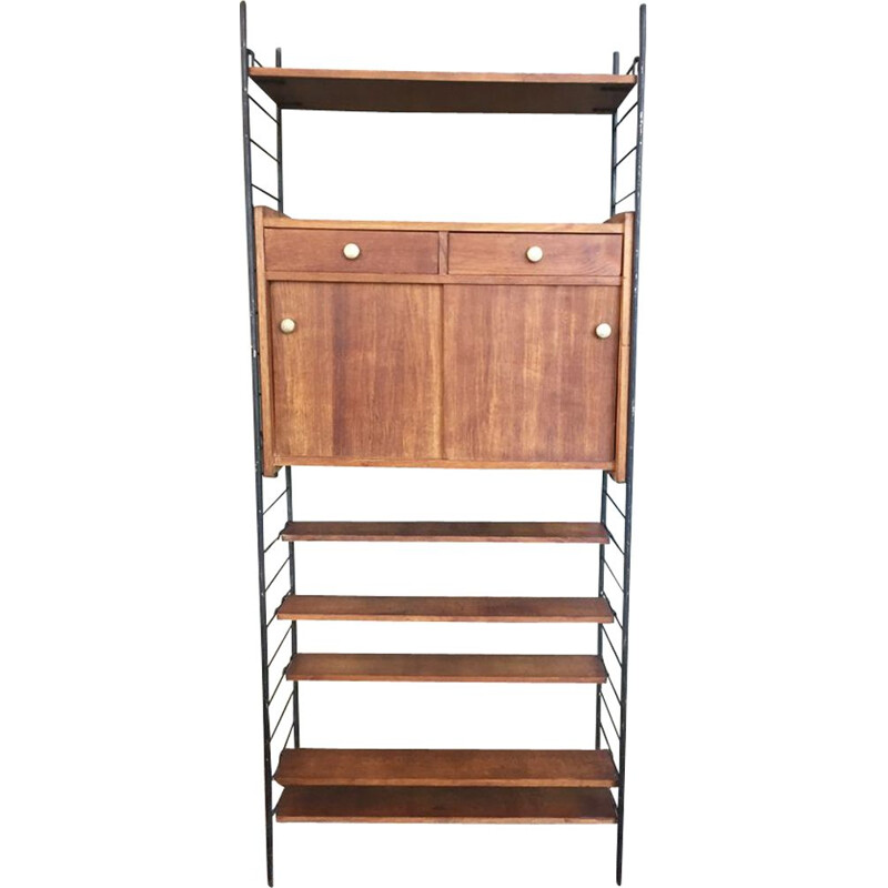 Vintage flexible string cabinet in oak