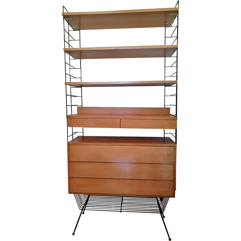 French vintage Alcora storage in oak and metal 1960 Alcora