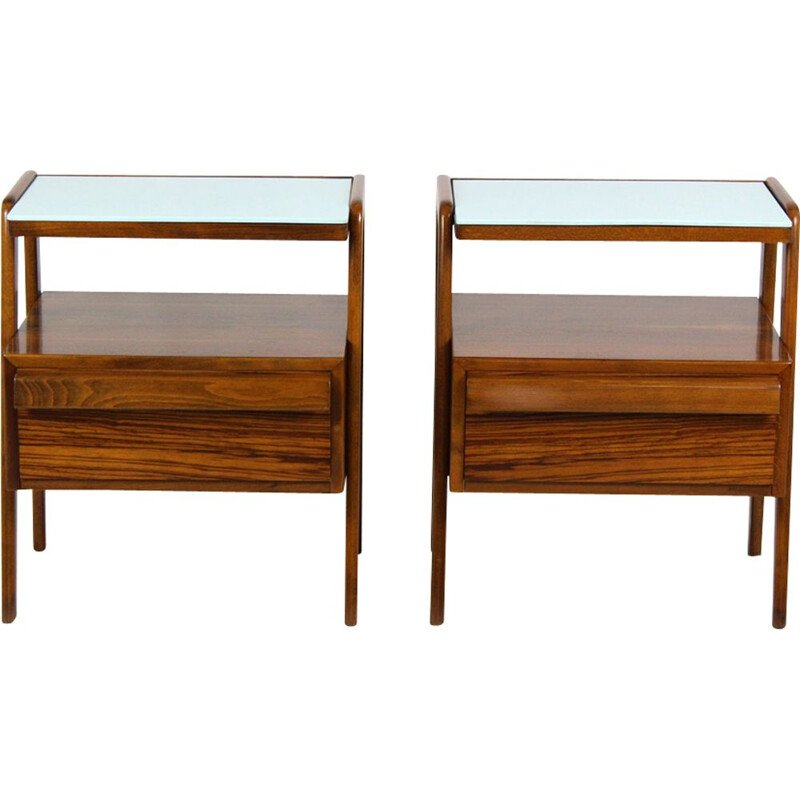 Set of 2 vintage nightstands by Jitona with blue glass tops 1960