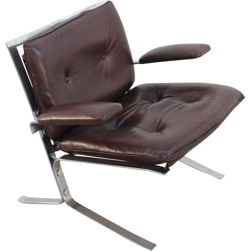Vintage Joker armchair by Olivier Mourgue for Airborne in brown leather