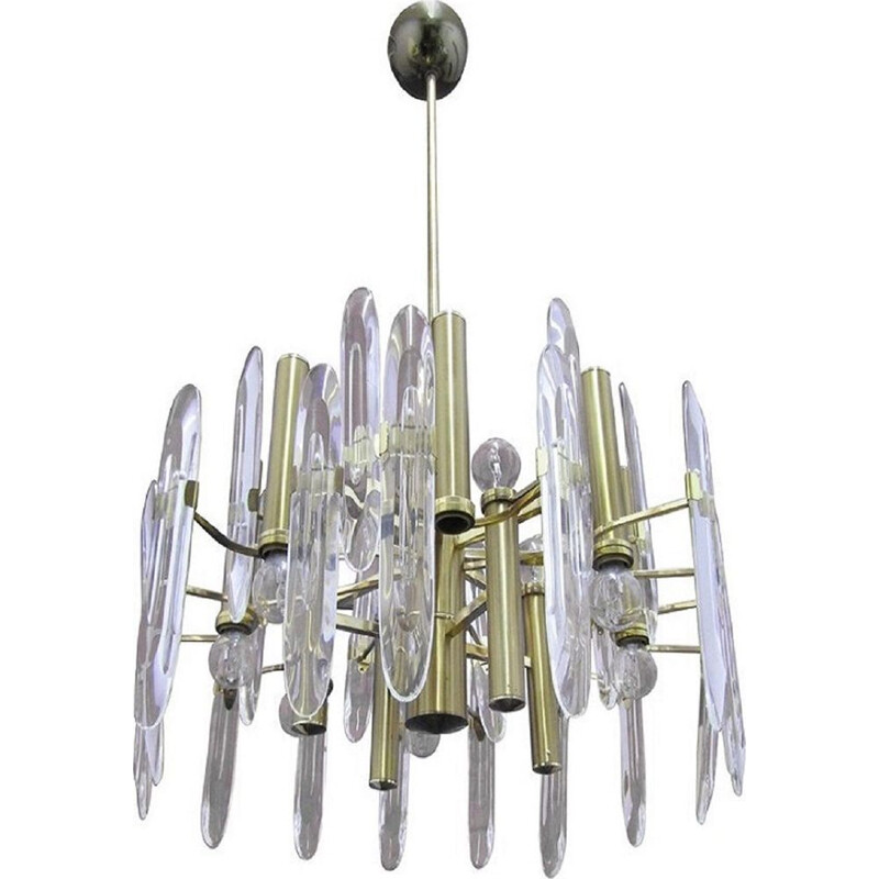 Vintage 12-Light chandelier for Stilkronen in brass and glass