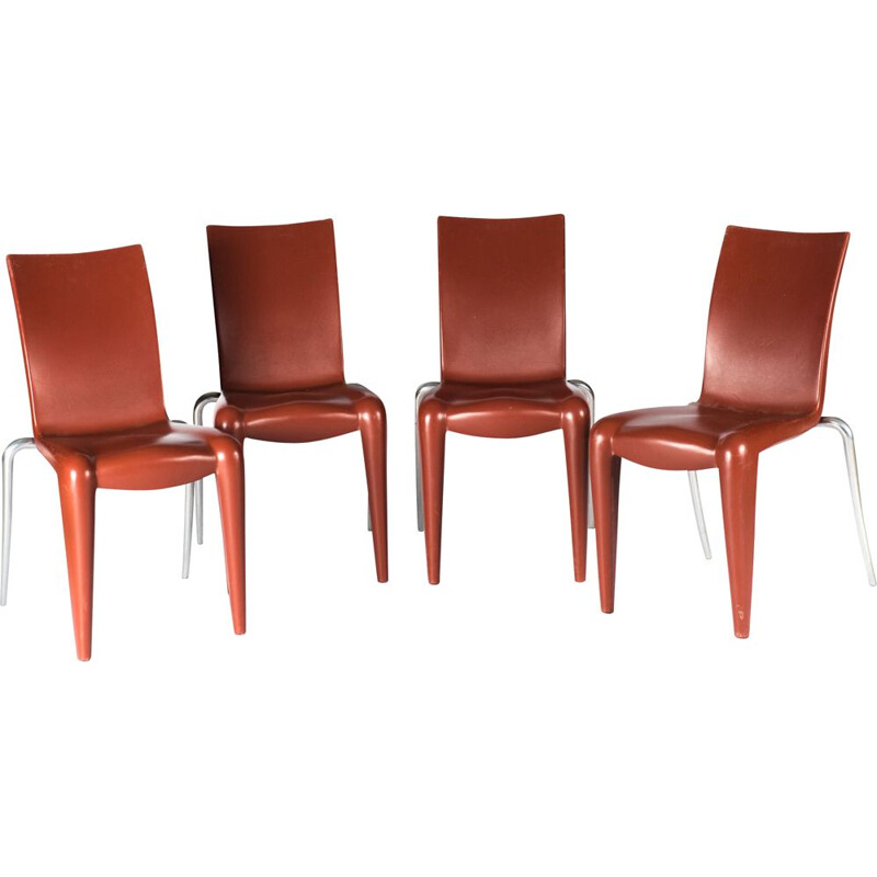 Set of 4 vintage red plastic chairs for Starck & Vitra 1992