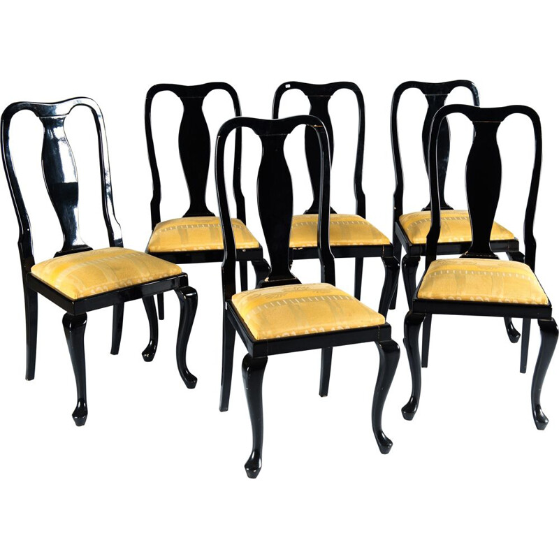 Set of 6 vintage yellow chairs by Jean Claude Mahey