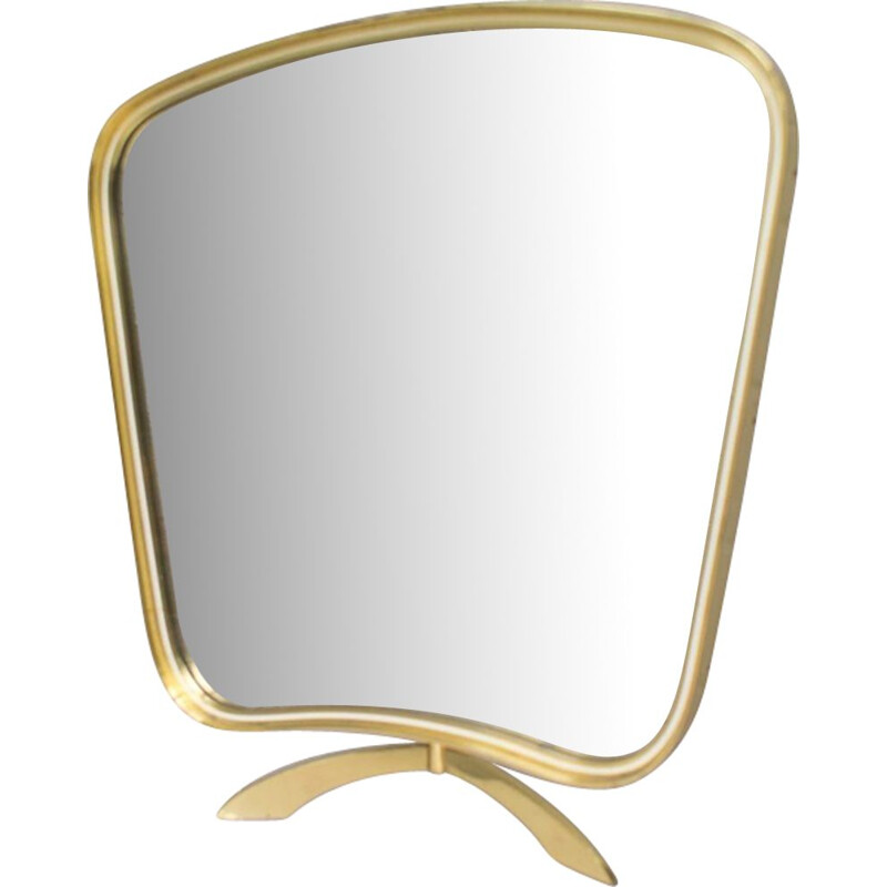 Vintage table mirror in brass from Vereinigte Werkstätten Munich