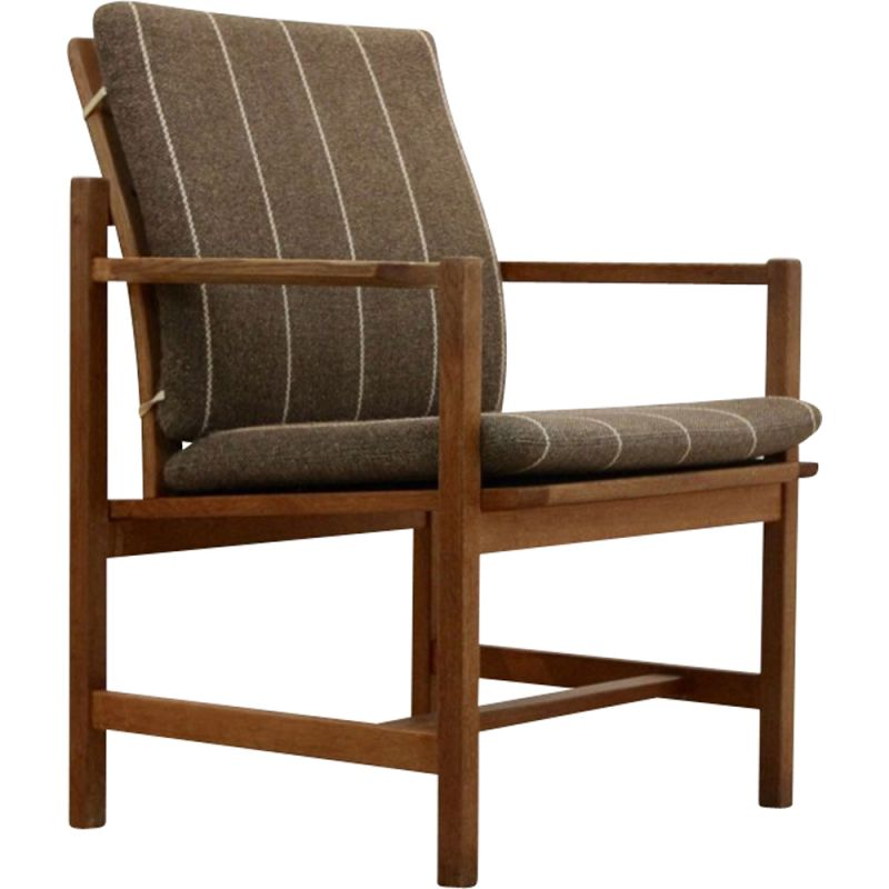 Vintage armchair model 3233 in oak by Fredericia Stolefabric for Borge Mogensen