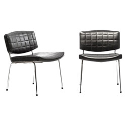 Pair of 2 Conseil chairs in black leatherette and metal, Pierre GUARICHE - 1950s