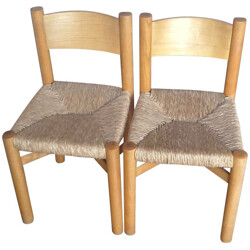 """Pair of Charlotte PERRIAND """"Méribel"""" model chairs - 1950"""