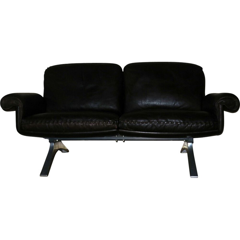 "Vintage 2-seater sofa ""DS 31"" in dark brown leather by De Sede"