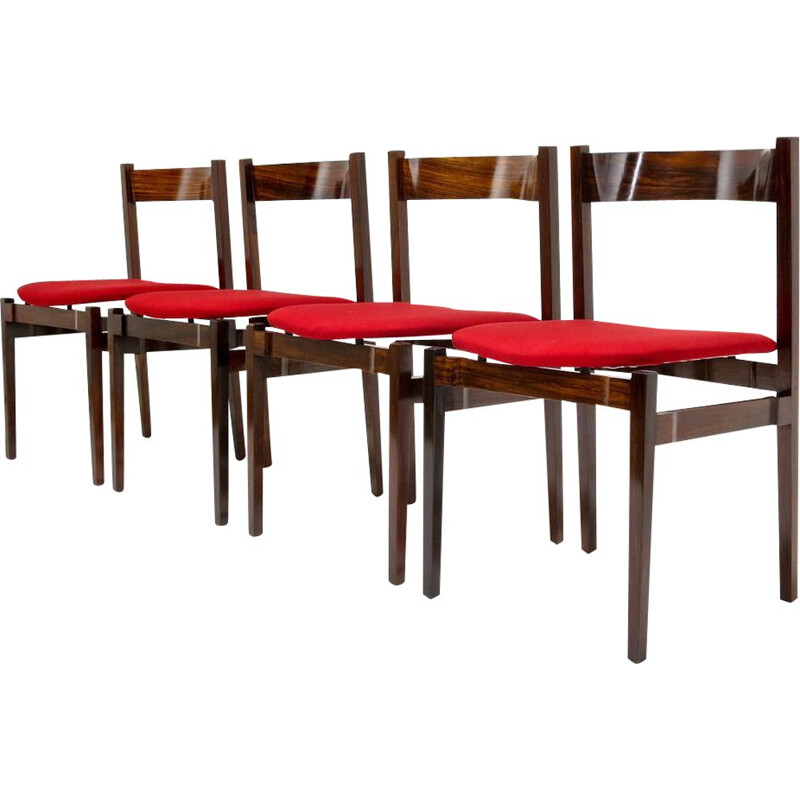 Set of 4 vintage Italian red dining chairs in rosewood by Gianfranco Frattini for Cassina