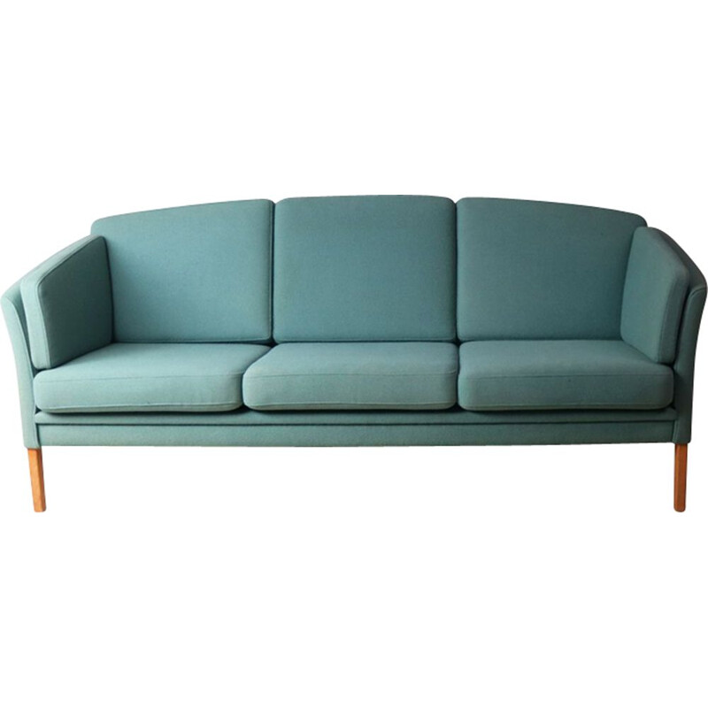 Vintage Danish blue 3-seater sofa in wool