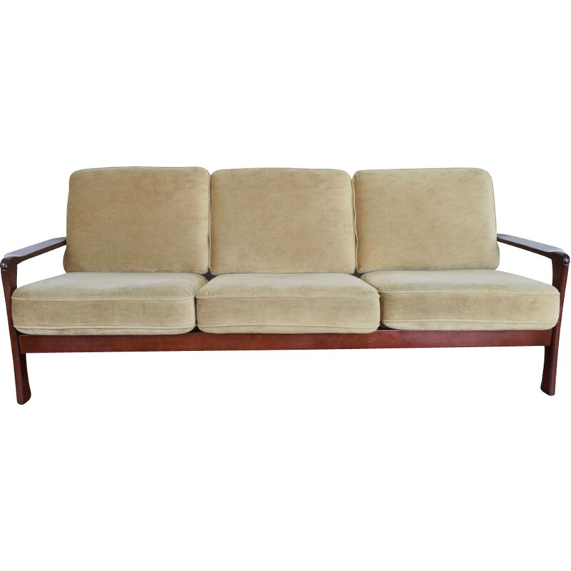 Vintage Danish 3-seater sofa in beech wood