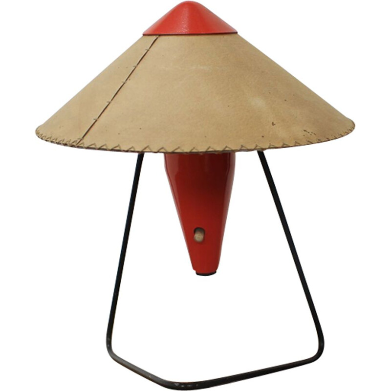 Vintage Czech red table lamp by Helena Frantová