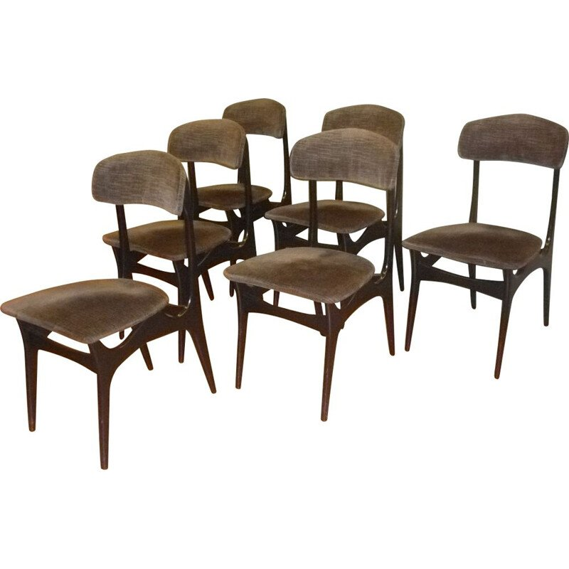Set of 6 vintage Belgian chairs by Alfred Hendrickx
