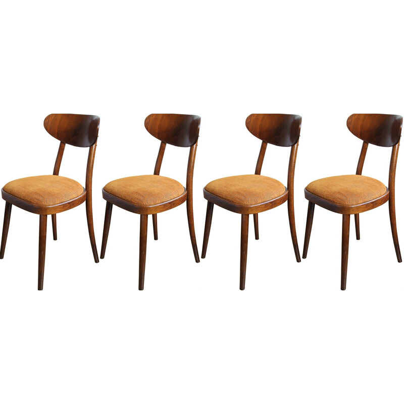 Set of 4 vintage orange chairs by TON in fabric and beechwood