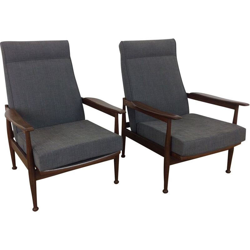 Set of 2 vintage grey armchairs by Guy Rogers