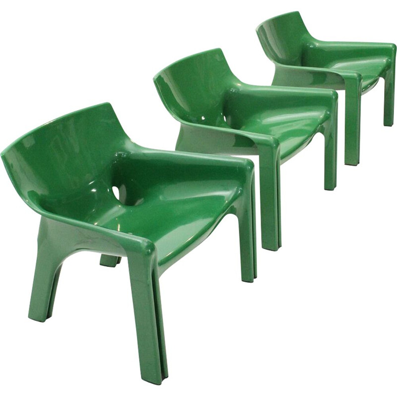 Set of 3 vintage Italian green armchairs by Vico Magistretti for Artemide