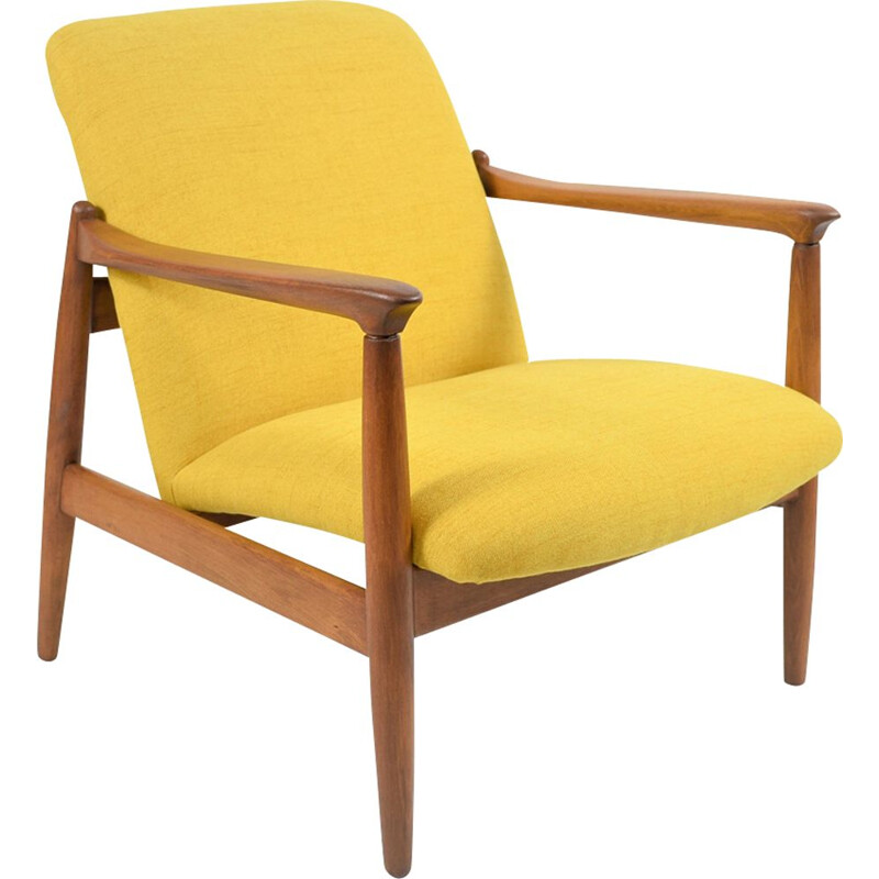 Vintage GMF armchair in yellow fabric