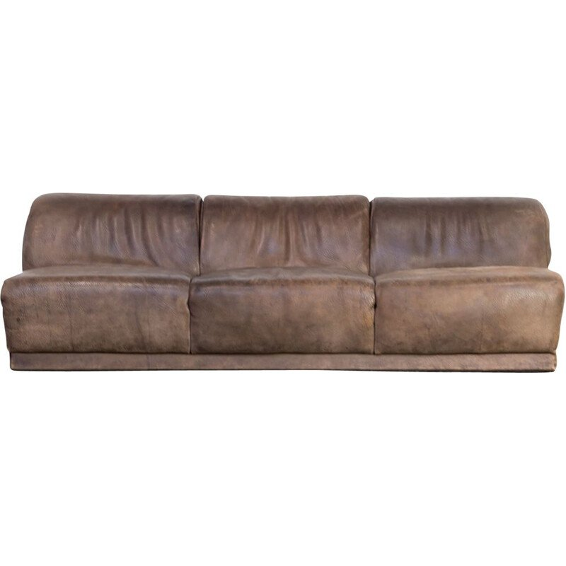 Vintage 3-seater sofa in brown leather