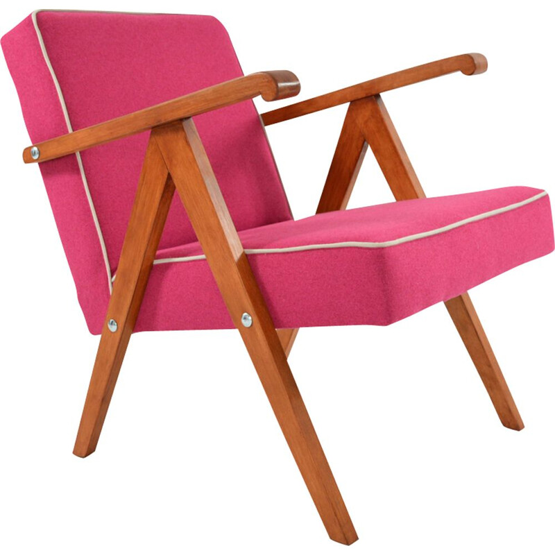 Vintage armchair in pink and white fabric and wood 1950