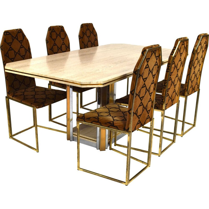 Vintage dining set in travertine and brass 1970