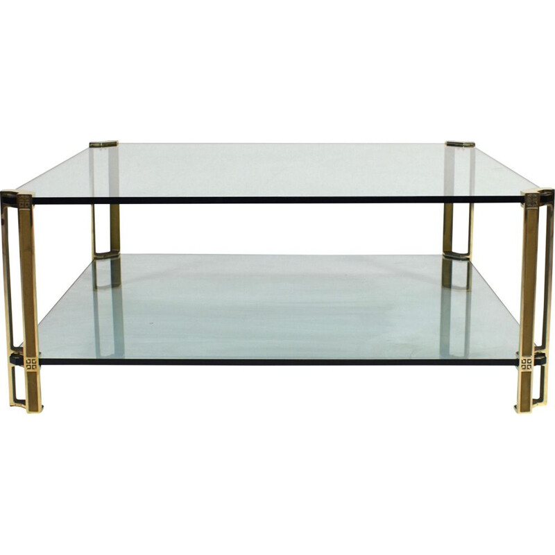 Vintage Peter Ghyczy solid brass and glass coffee table