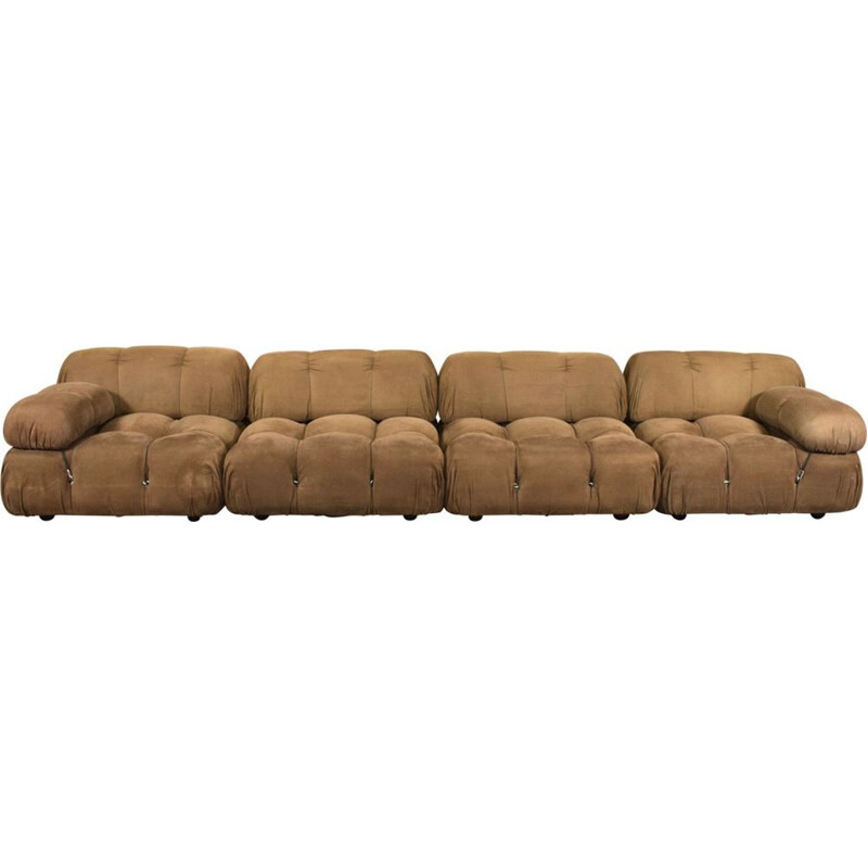 Vintage Camaleonda sectional sofa by Mario Bellini for B&B Italia in brown fabric
