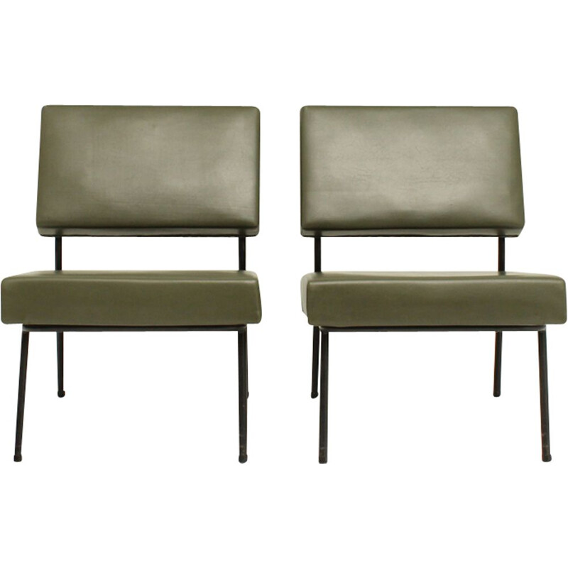 Pair of vintage easy chairs by Guariche for Airborne in metal and green vinyle