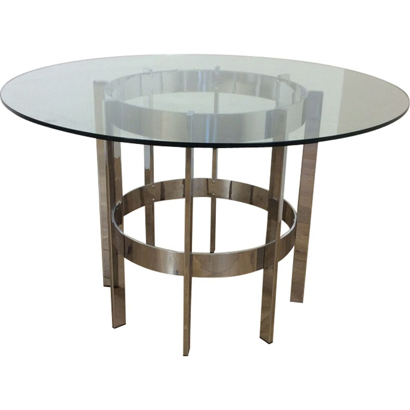 Vintage table for Merrow Associates table in glass and chrome 1970