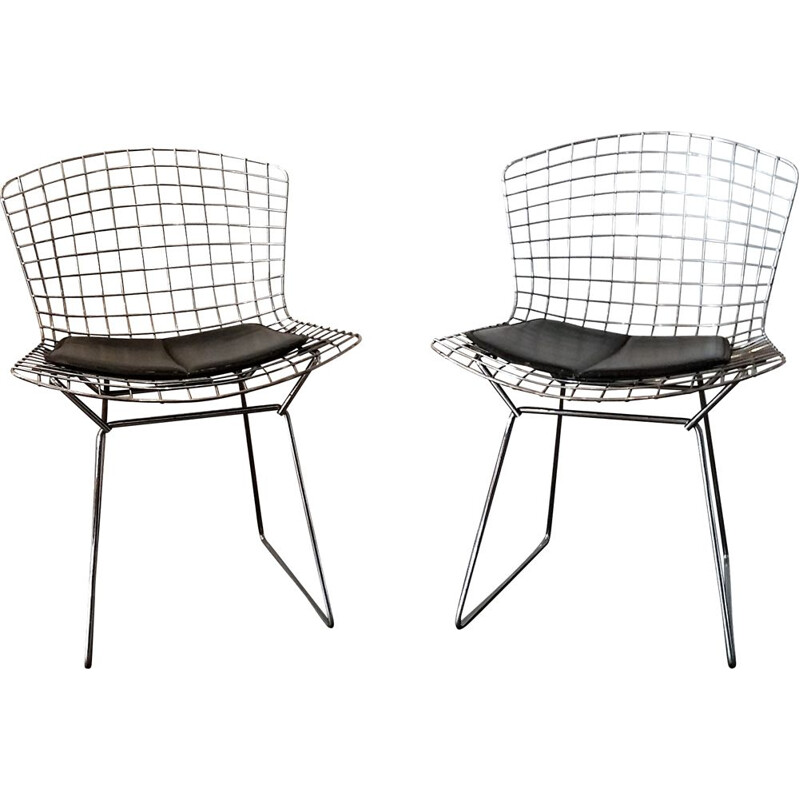 Set of 2 vintage chairs 420C in chrome by Harry Bertoia steel wire