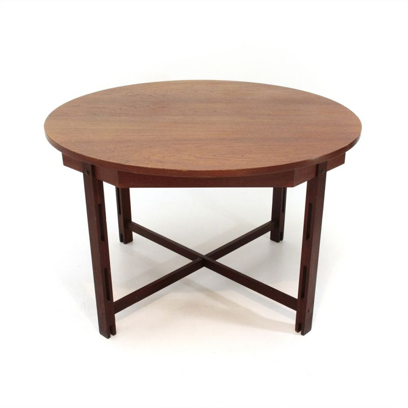Vintage Italian Dining Table With Circular Top In Teakwood 1960