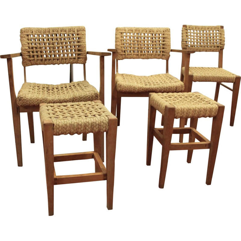 Set of 3 chairs and 2 stools by Audoux-Minet