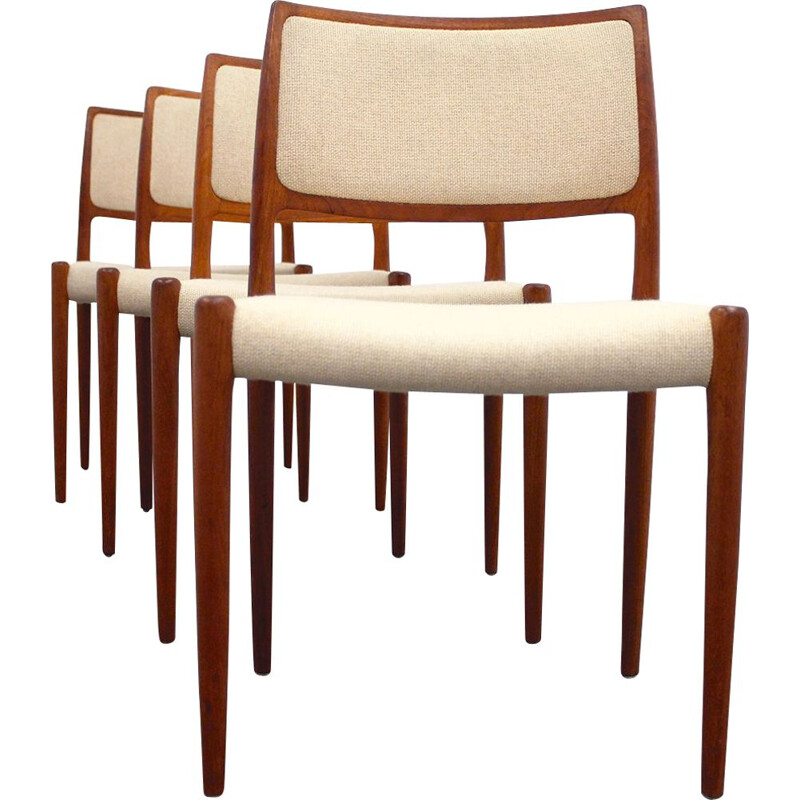 Set of 4 vintage chairs by Niels Otto Møller for J.L. Møllers Møbelfabrik in teak and wool