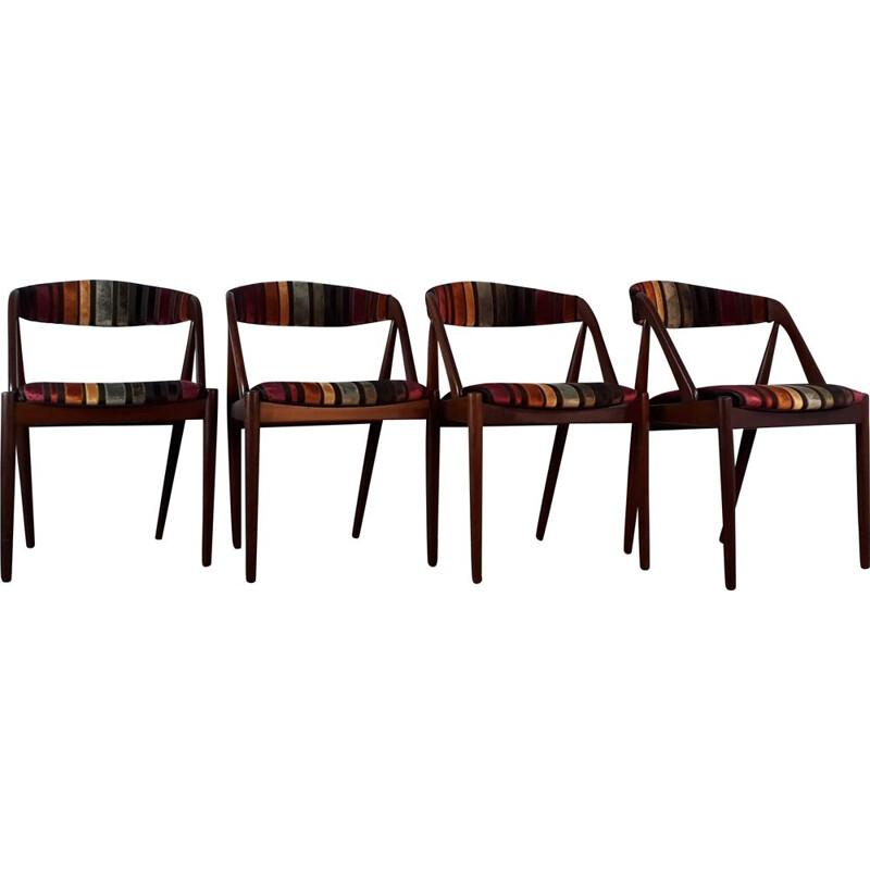 Set of 4 vintage chairs for Schou Andersen Moblefabrik in teak and fabric