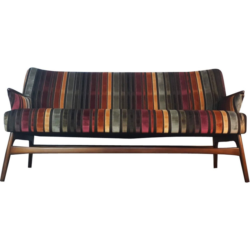 Vintage danish multicoloured sofa in teak and fabric 1950